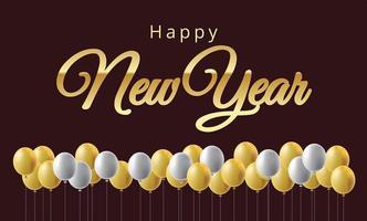 gelukkig nieuwjaar ballonnen en gouden metalen cijfers vector
