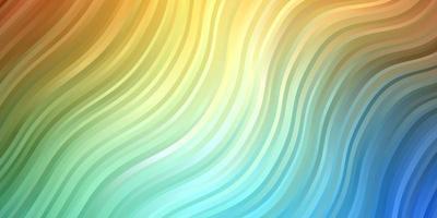 lichtblauw, geel patroon met wrange lijnen.
