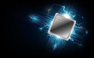 futuristische computerprocessor, elektronische technologieachtergrond vector