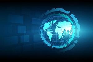 wereldbol met gloeiende lijnen op technologische achtergrond vector
