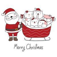 kerstgroet met santa en schattige dieren in slee vector
