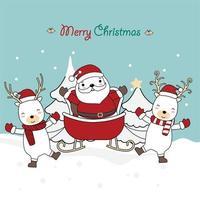 kerst wenskaart ontwerp met schattige karakters vector
