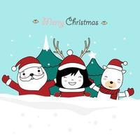 kerst wenskaart ontwerp met schattige karakters