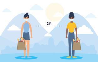 vrouwen met gezichtsmaskers die buitenshuis sociaal afstand nemen