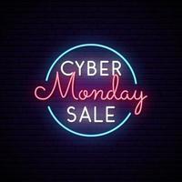 cyber maandag neon uithangbord in cirkel. vector