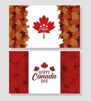 happy canada day banner set met esdoornbladeren vector