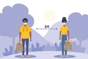 mensen met gezichtsmaskers die sociaal afstand nemen