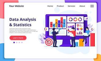 ondernemers werken met grafieken en gegevens vector