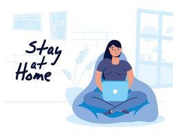 vrouw thuiswerken
