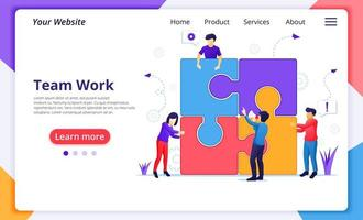 teamwork concept, mensen verbinden puzzelstukjes