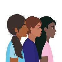 diversiteitshuiden van zwarte Indiase vrouwen en mannen vector