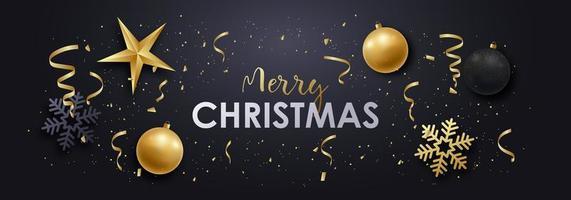 vrolijk kerst realistisch ornament, sneeuwvlok en confetti banner vector