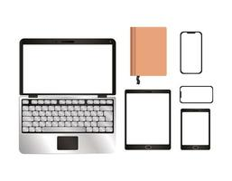 mockup laptop tablet smartphone en notebook ontwerp vector
