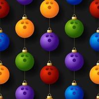 Kerst opknoping bowlingbal ornamenten naadloze patroon vector