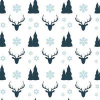 Kerst naadloze patroon met herten, sneeuwvlokken en bomen