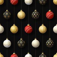 kerst hangende ornamenten en cricket bal naadloze patroon