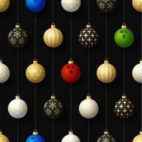 kerst hangende ornamenten en bowlingbal naadloze patroon