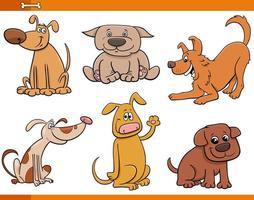 honden en puppy's schattige dieren tekenset