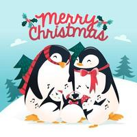 super leuke cartoon vakantie pinguïn familie winters tafereel vector