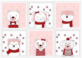 Valentijnsdag hand getekend schattige dieren in frames