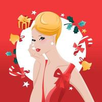 glamoureuze chique opgestoken haar meisje kerstversiering voor de feestdagen