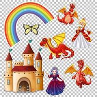 set folk fantasy-elementen geïsoleerd op transparante achtergrond vector