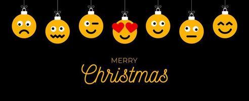 kerstgroet met emoji-gezichtsornamenten
