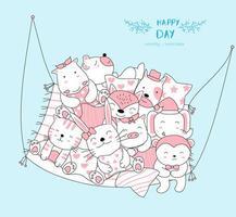hand getrokken schattige babydieren ontspannen in hangmat