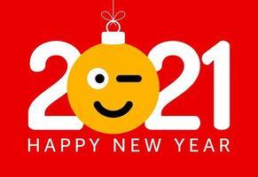 Nieuwjaarsgroet 2021 met knipogend emoji-gezichtsornament vector