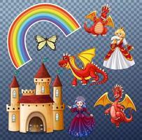 set folk fantasy-elementen geïsoleerd op transparante achtergrond