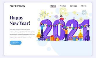 mensen vieren gelukkig nieuw jaar 2021