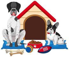 schattige hond en hondenhuis op witte achtergrond