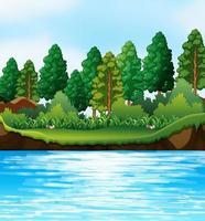 putdoor rivier natuur scène vector