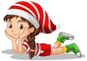 schattig meisje in kerst kostuum stripfiguur vector