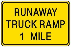 runaway truck ramp 1 mijl waarschuwingsbord geïsoleerd op een witte achtergrond