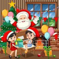 kerstman met twee meisje piano spelen in de scène van de kerstdag vector