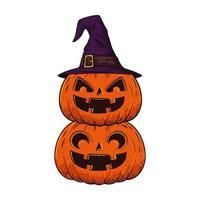 Halloween pompoenen gestapeld
