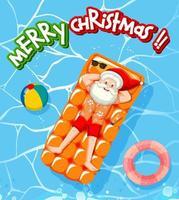 vrolijk kerstlettertype met de kerstman ontspan in het thema van de zwembadzomer vector