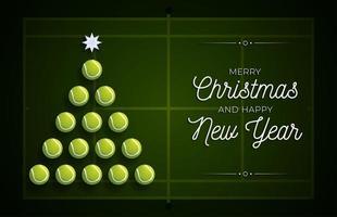 kerstboom gemaakt door tennisballen op de baan