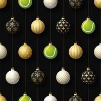 kerst hangende ornamenten en tennisbal naadloos patroon vector