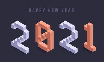 gelukkig nieuwjaar 2021 isometrische typografie vector