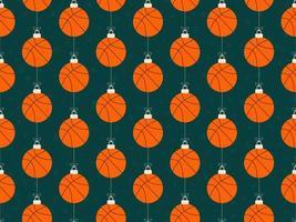 vrolijk kerstbasketbal naadloos horizontaal patroon