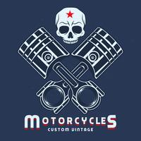 Vintage zuiger met Skull Bikes embleem etiketten vector