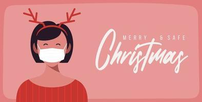 vrolijke en veilige kerstvrouw in gewei-ontwerp