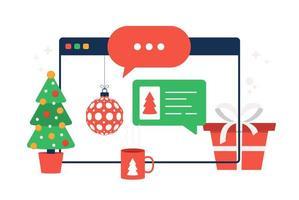 kerst chatten op browser vector