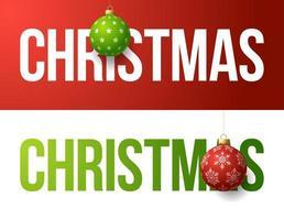 Kerst typografie banner set met bal ornamenten vector