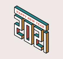 2021 Gelukkig Nieuwjaar isometrische typografie