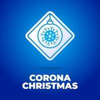 kerst coronavirus verkeersbord vector