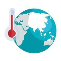 planeet aarde met thermometer geïsoleerd pictogram vector