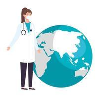 vrouwelijke arts met wereldplaneet